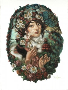 Xiaoqing  Ding -  <strong>Lily</strong> (2010<strong style = 'color:#635a27'></strong>)<bR /> oil on paper,   30 x 22.5 inches (76.2 x 57.15 cm)  34.5 x 27 inches (87.63 x 68.58 cm) framed
