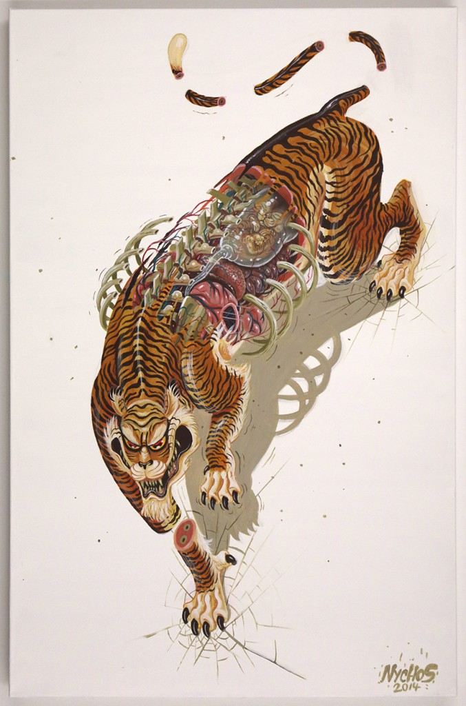 Nychos  &nbsp -  <strong>Dissection of Mother Tiger</strong> (2014<strong style = 'color:#635a27'></strong>)<bR /> mixed media on canvas,   23.62 x 35.43 inches  (90 x 60 cm)