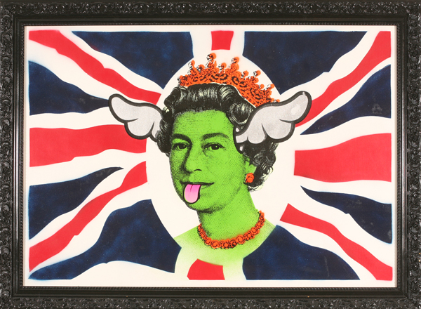 D*Face  &nbsp -  <strong>Dog Save the Queen</strong> (2007<strong style = 'color:#635a27'></strong>)<bR /> Mixed Media on Canvas,   32 1/2 x 44 inches