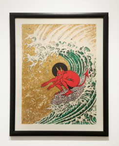 Don Ed  Hardy -  <strong>Surf or Die</strong> (2004<strong style = 'color:#635a27'></strong>)<bR /> lithograph with metallic gold powder,   29 3/4 x 22 inches  (75.57 x 55.88 cm),   36 3/8 x 28 3/4 inches, framed