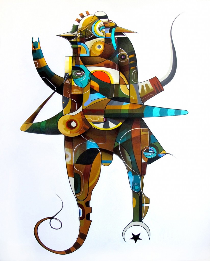Doze  Green -  <strong>Annuaki Series - Nibiru</strong> (2012<strong style = 'color:#635a27'></strong>)<bR /> acrylic and spray paint on canvas,   40 x 30 x 1.25 inches  (101.6 x 76.2 x 3.175 cm)