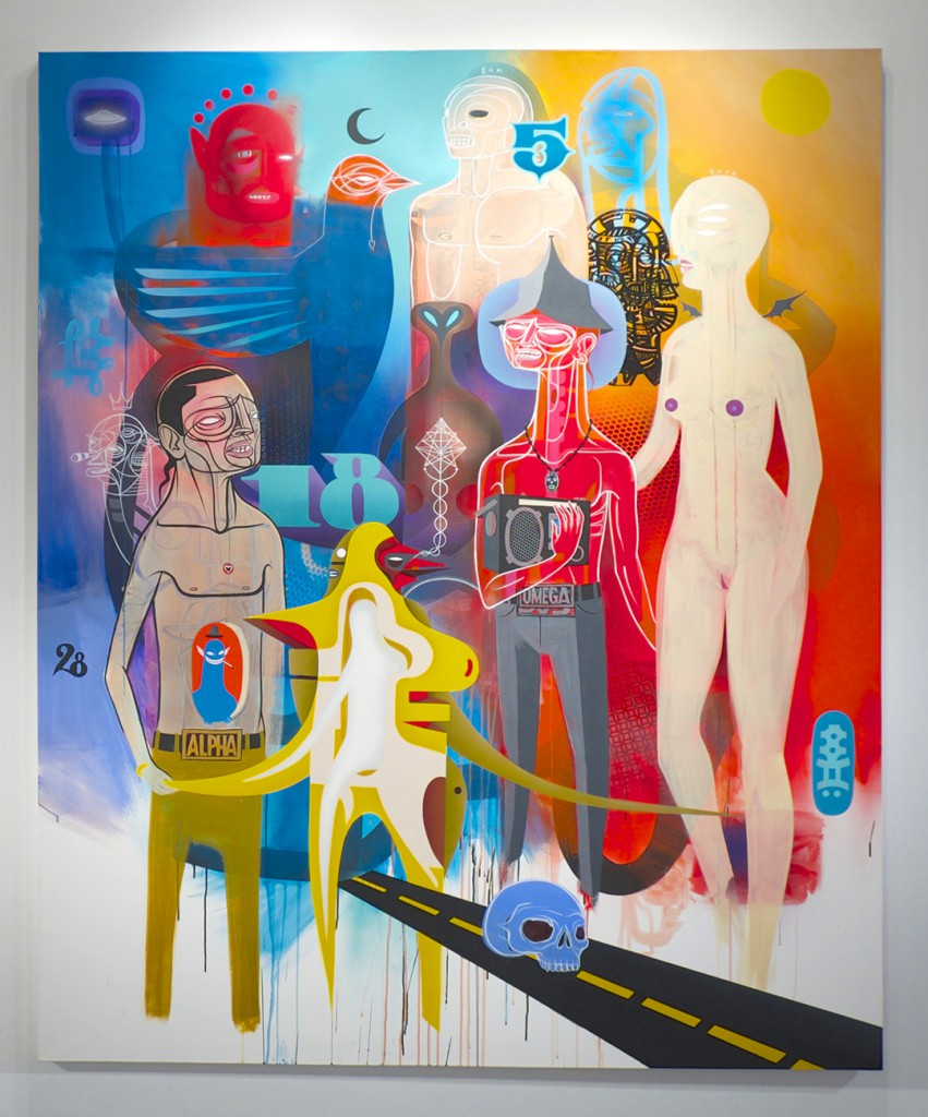 Doze  Green -  <strong>Dustland Memories</strong> (2014<strong style = 'color:#635a27'></strong>)<bR /> mixed media on canvas,   70 x 60 inches  (177.8 x 152.4 cm)
