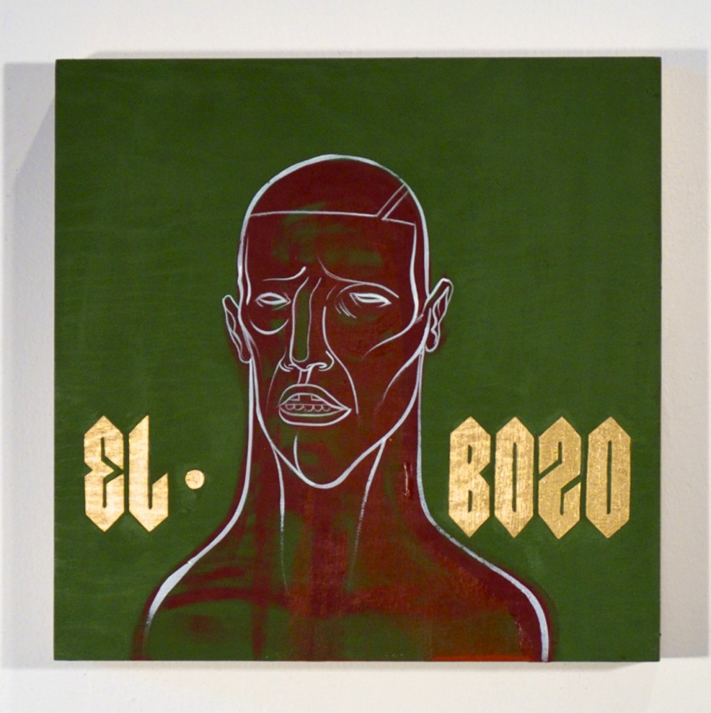 Doze  Green -  <strong>El Bozo</strong> (2014<strong style = 'color:#635a27'></strong>)<bR /> mixed media on canvas,   14 x 14 inches  (35.56 x 35.56 cm)