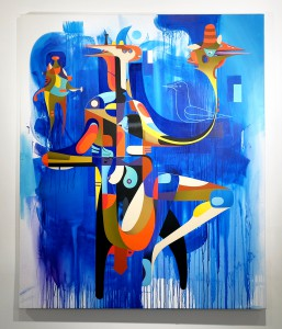 Doze  Green -  <strong>H. Thrice</strong> (2014<strong style = 'color:#635a27'></strong>)<bR /> mixed media on canvas,   70 x 60 inches  (177.8 x 152.4 cm)