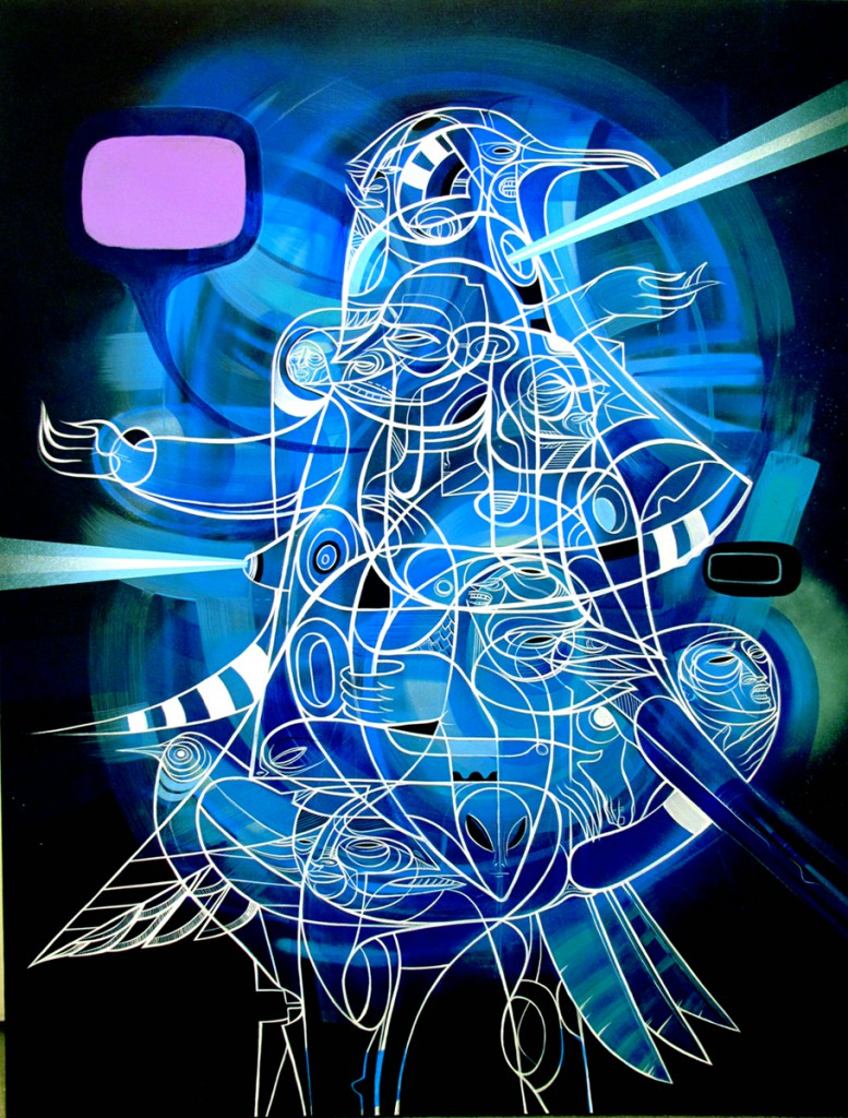 Doze  Green -  <strong>Hermes Trismegestigus</strong> (2012<strong style = 'color:#635a27'></strong>)<bR /> acrylic and spray paint on canvas,   40 x 30 x 1.25 inches  (101.6 x 76.2 x 3.175 cm)