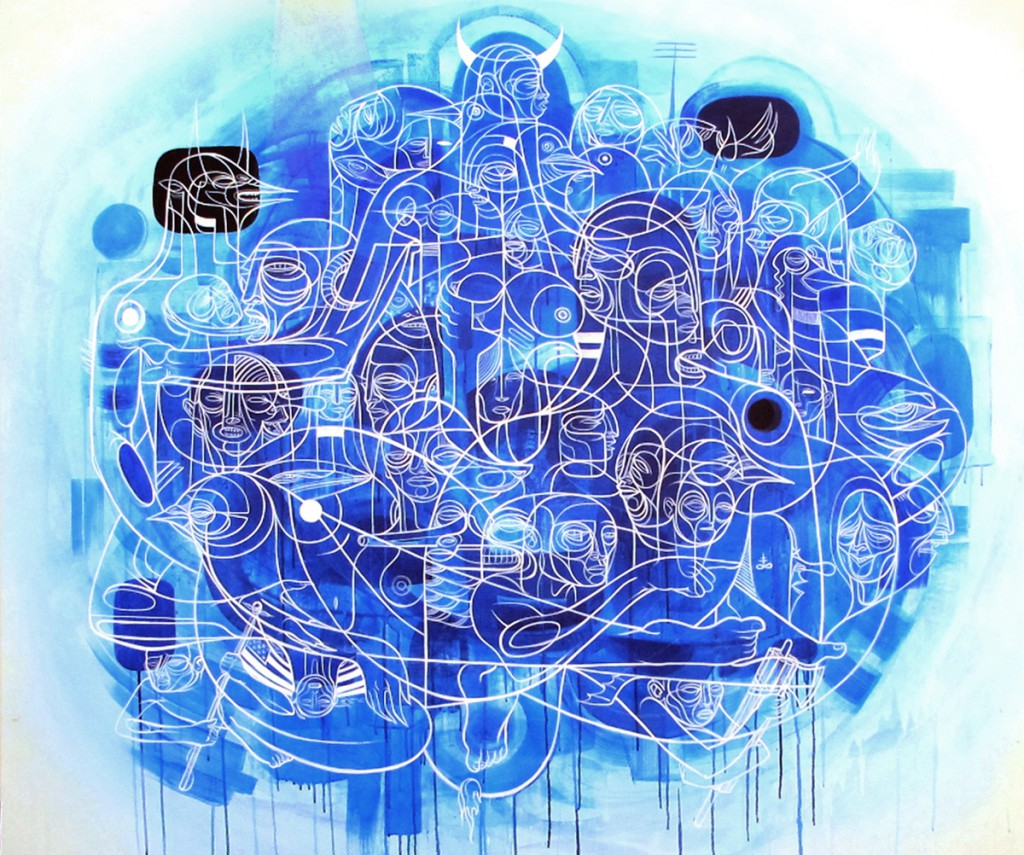 Doze  Green -  <strong>Lilith's Progeny</strong> (2012<strong style = 'color:#635a27'></strong>)<bR /> acrylic and spray paint on canvas,   48 x 58 inches  (121.92 x 147.32 cm)