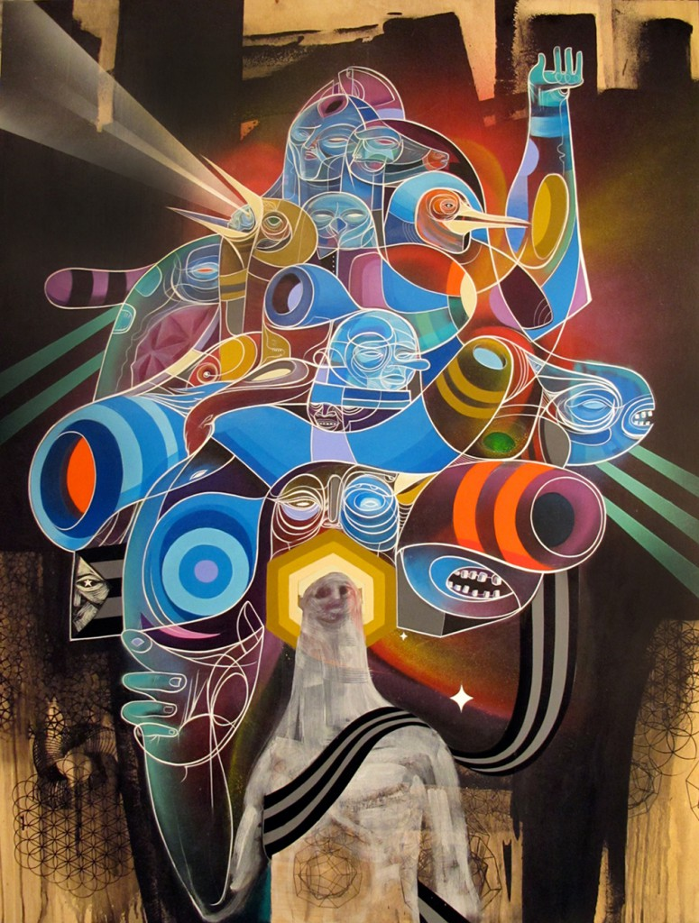 Doze  Green -  <strong>Luminous Series B</strong> (2012<strong style = 'color:#635a27'></strong>)<bR /> acrylic, spray paint and screen print on panel,   48 x 36 x 1.5 inches  (121.92 x 91.44 x 3.9 cm)