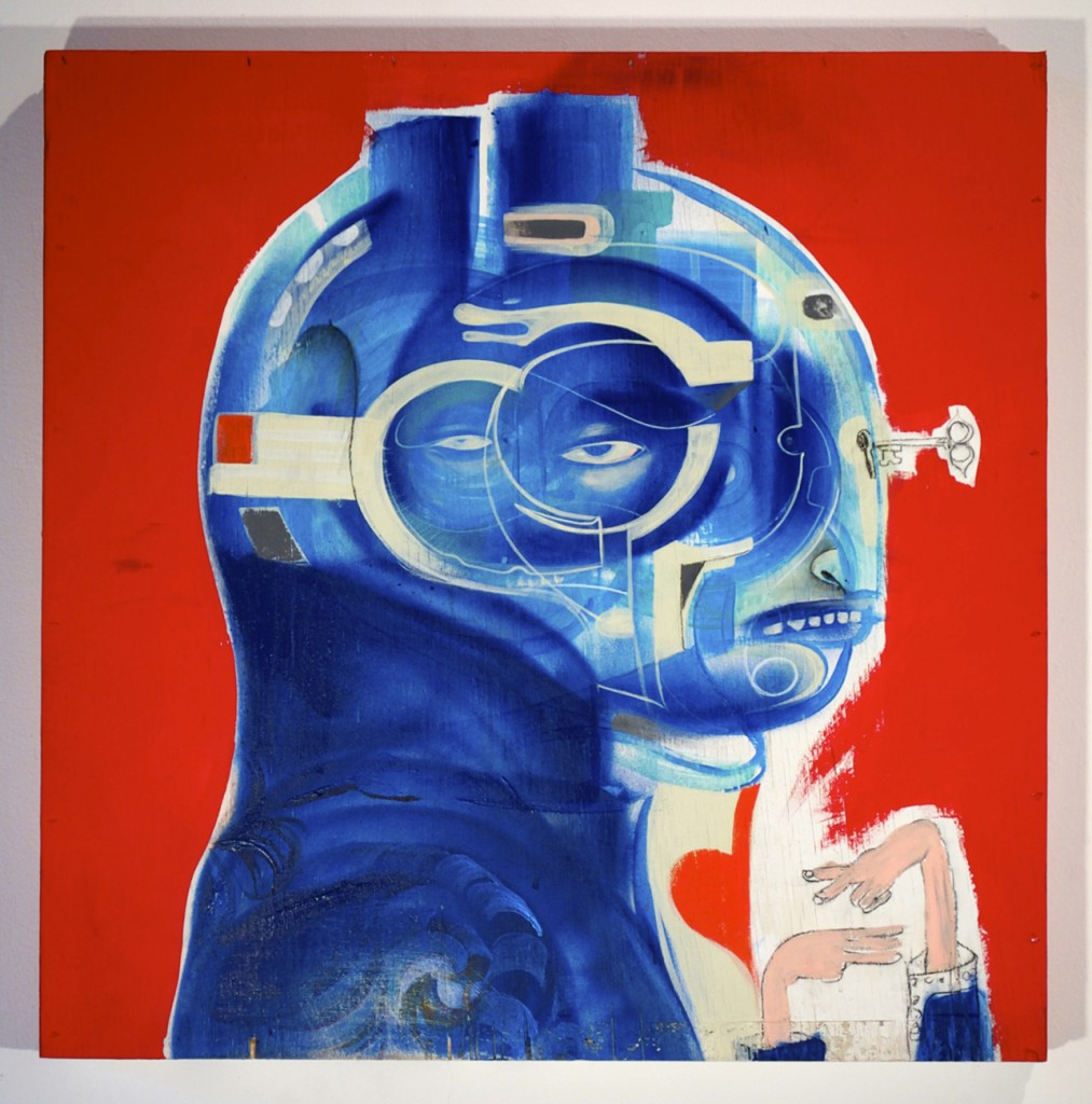 Doze  Green -  <strong>Napoleon Bonefart</strong> (2014<strong style = 'color:#635a27'></strong>)<bR /> mixed media on wood,   24 x 24 inches  (60.96 x 60.96 cm)