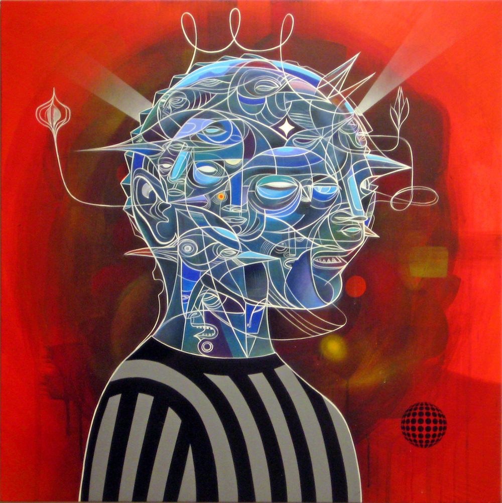 Doze  Green -  <strong>Nephilimaximus</strong> (2012<strong style = 'color:#635a27'></strong>)<bR /> acrylic, spray paint and screen print on canvas,   36 x 36 x 1.25 inches  (91.44 x 91.44 x 3.175 cm)