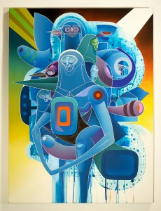 Doze  Green -  <strong>Set with Osirian Strap-On (Penis Envy)</strong> (2014<strong style = 'color:#635a27'></strong>)<bR /> mixed media on canvas,   40 x 30 inches  (101.6 x 76.2 cm)