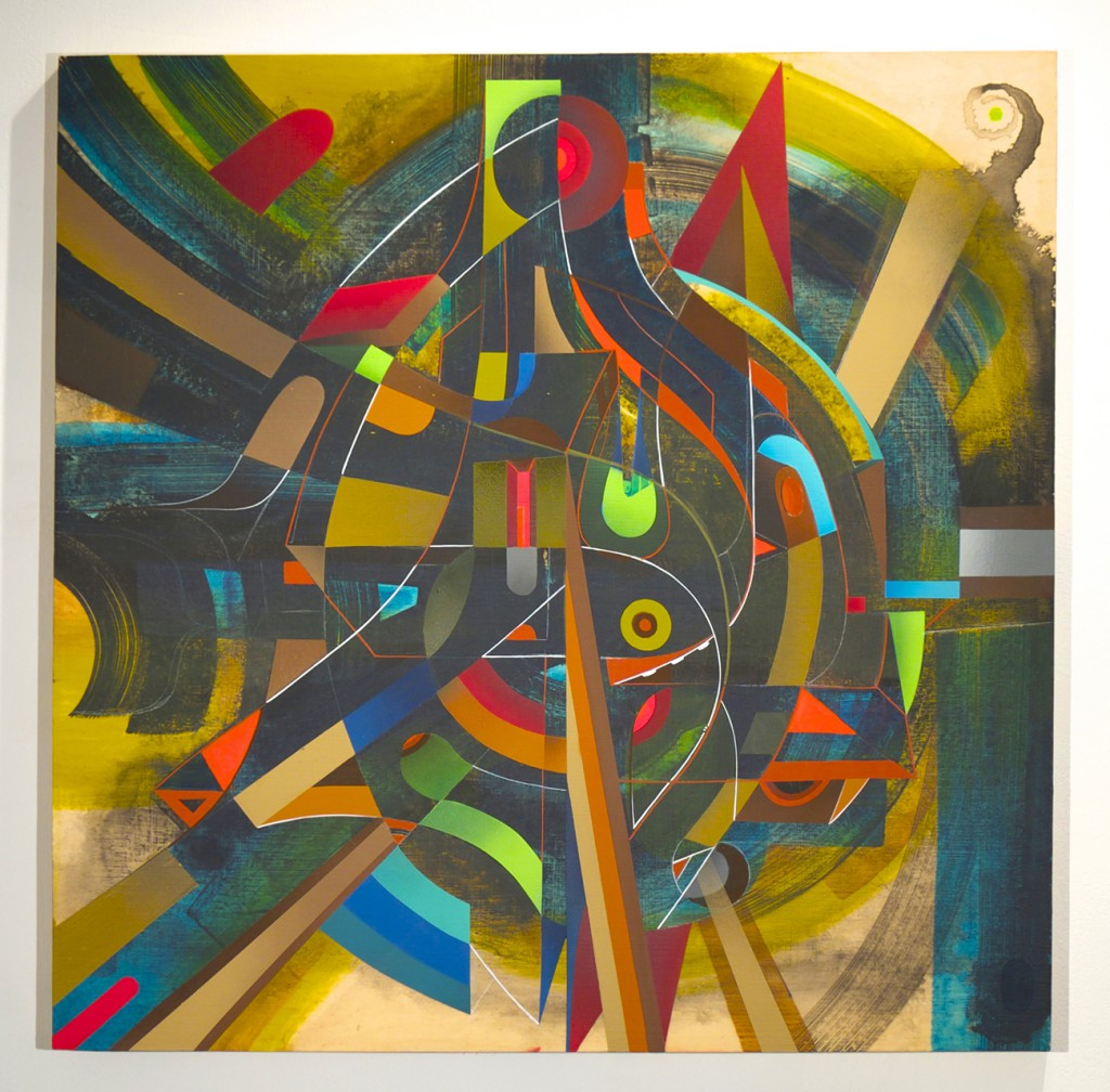 Doze  Green -  <strong>The Sonic Metatron</strong> (2014<strong style = 'color:#635a27'></strong>)<bR /> mixed media on canvas,   36 x 36 inches  (91.44 x 91.44 cm)
