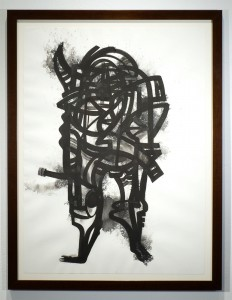 Doze  Green -  <strong>TITAN1</strong> (2014<strong style = 'color:#635a27'></strong>)<bR /> SUMI on paper,   30 x 22 inches  (76.2 x 55.88 cm)