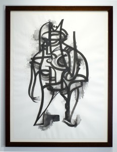Doze  Green -  <strong>TITAN2</strong> (2014<strong style = 'color:#635a27'></strong>)<bR /> SUMI on paper,   30 x 22 inches  (76.2 x 55.88 cm)