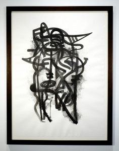 Doze  Green -  <strong>TITAN3</strong> (2014<strong style = 'color:#635a27'></strong>)<bR /> SUMI on paper,   30 x 22 inches  (76.2 x 55.88 cm)