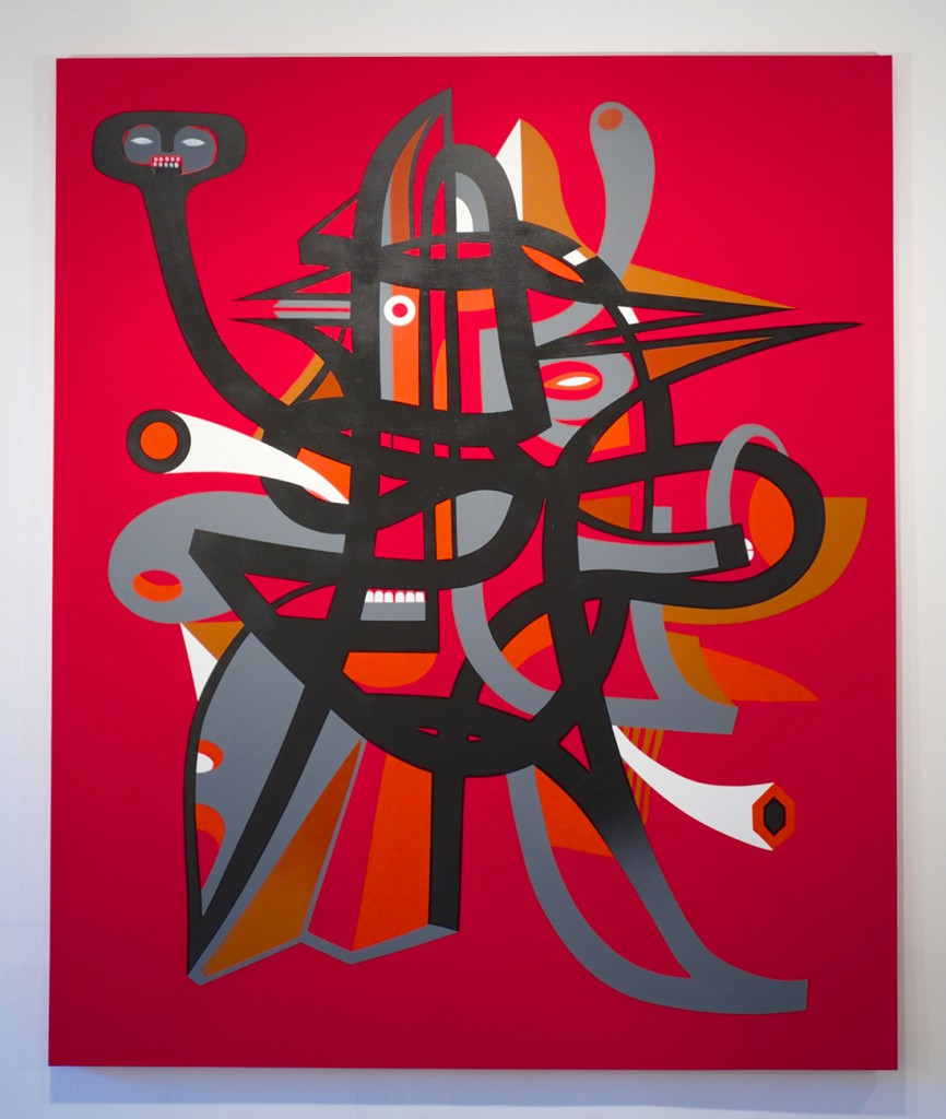 Doze  Green -  <strong>The Initiate</strong> (2014<strong style = 'color:#635a27'></strong>)<bR /> mixed media on canvas,   70 x 60 inches  (177.8 x 152.4 cm)