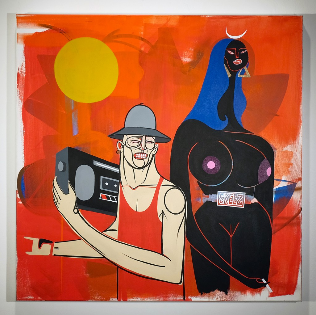 Doze  Green -  <strong>The Power</strong> (2014<strong style = 'color:#635a27'></strong>)<bR /> mixed media on canvas,   30 x 30 inches  (76.2 x 76.2 cm)