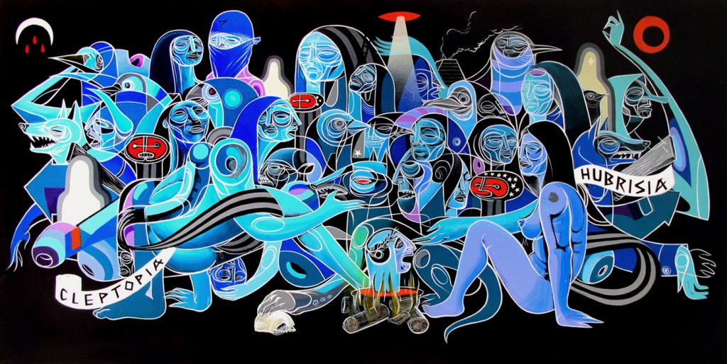 Doze  Green -  <strong>Third Day of Night</strong> (2012<strong style = 'color:#635a27'></strong>)<bR /> acrylic and spray paint on canvas,   24 x 48 x 1.25 inches  (60.96 x 121.92 x 3.175 cm)