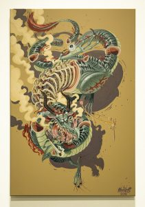 Nychos    -  <strong>Dragonaut</strong> (2014<strong style = 'color:#635a27'></strong>)<bR /> mixed media on canvas,   23.62 x 35.43 inches  (60 x 90 cm)