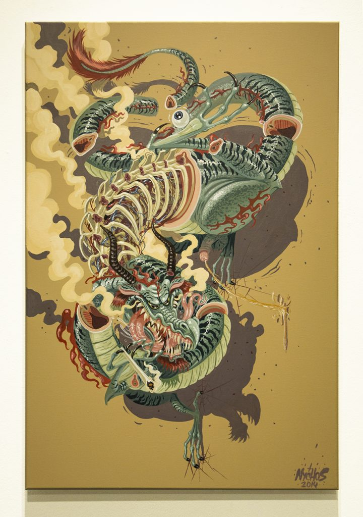 Nychos  &nbsp -  <strong>Dragonaut</strong> (2014<strong style = 'color:#635a27'></strong>)<bR /> mixed media on canvas,   23.62 x 35.43 inches  (60 x 90 cm)
