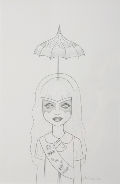 Tara  McPherson -  <strong>Somewhere Under the Rainbow (Turquoise) Drawing</strong> (2007<strong style = 'color:#635a27'></strong>)<bR /> graphite on acid free Bristol paper,   17 x 14 inches  (43.18 x 35.56 cm)  26 1/2 x 18 3/4 inches, framed