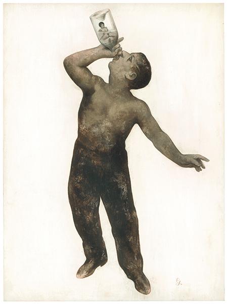 Gérard  DuBois -  <strong>Eau de Vie</strong> (2009<strong style = 'color:#635a27'></strong>)<bR /> acrylic on wood,   24 x 18 in. (61 x 45.7 cm)
