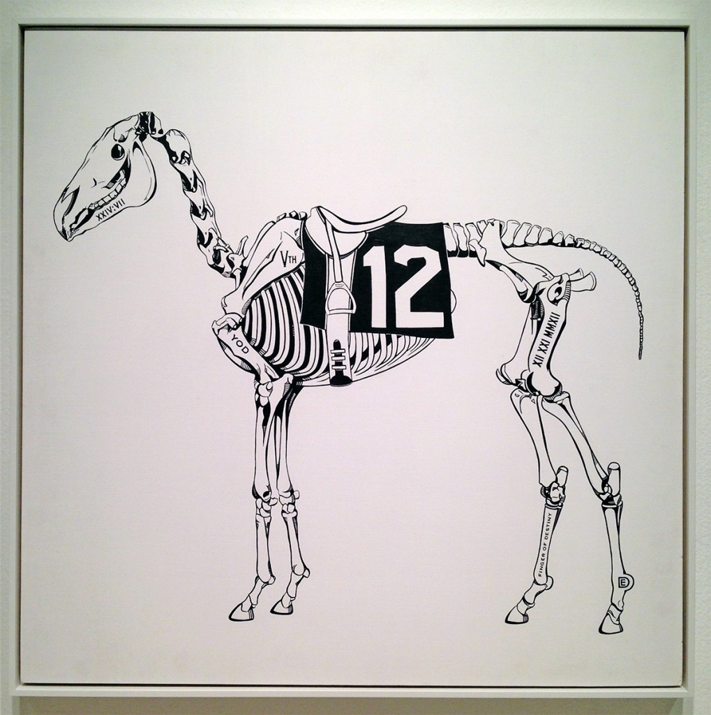Dylan  Egon -  <strong>12 Horse</strong> (2014<strong style = 'color:#635a27'></strong>)<bR /> acrylic on board,   28 x 28 x 0.5 inches  (71.12 x 71.12 x 1.27 cm)