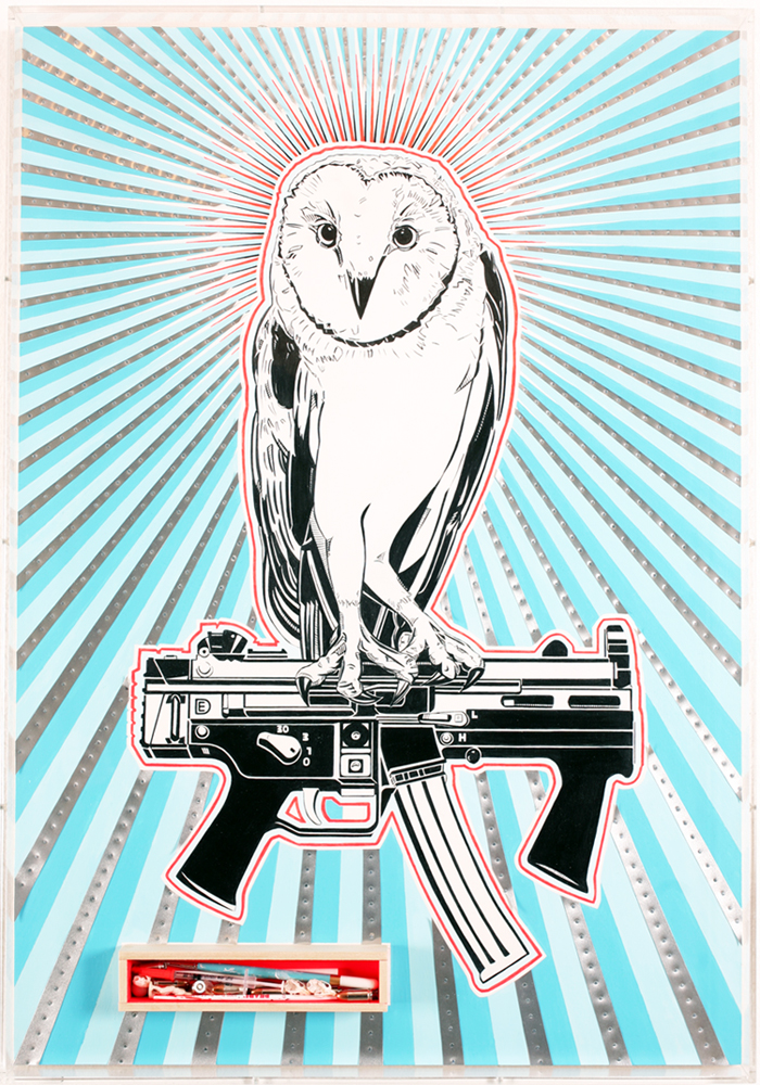 Dylan  Egon -  <strong>Barn Owl / MP5</strong> (2011<strong style = 'color:#635a27'></strong>)<bR /> mixed media on panel,   33.25 x 23.25 x 2 inches  (84.46 x 59 x 5.4 cm)