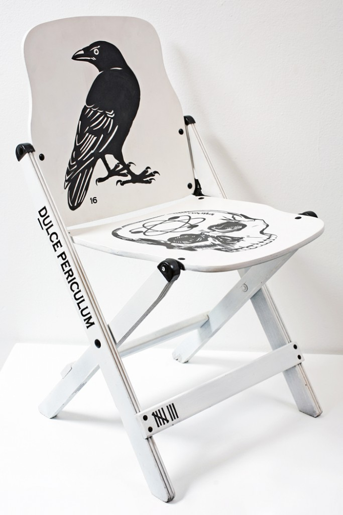 Dylan  Egon -  <strong>Chair 16</strong> (2008<strong style = 'color:#635a27'></strong>)<bR /> mixed media,   29.5 x 17 x 16 inches  (74.93 x 43.18 x 40.64 cm)