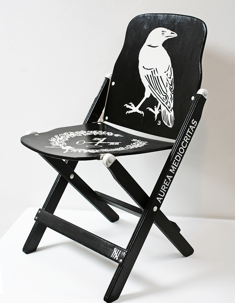 Dylan  Egon -  <strong>Chair 3</strong> (2008<strong style = 'color:#635a27'></strong>)<bR /> mixed media,   29.5 x 17 x 16 inches  (74.93 x 43.18 x 40.64 cm)