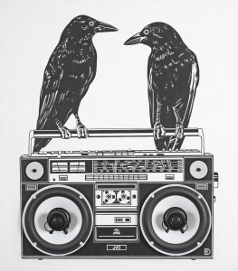 Dylan  Egon -  <strong>Crows / JVC</strong> (2010<strong style = 'color:#635a27'></strong>)<bR /> (audio collaboration with Cy Donovan),   mixed media,   18.75 x 51.5 x 1.25 inches  (47.63 x 130.81 x 3.18 cm)