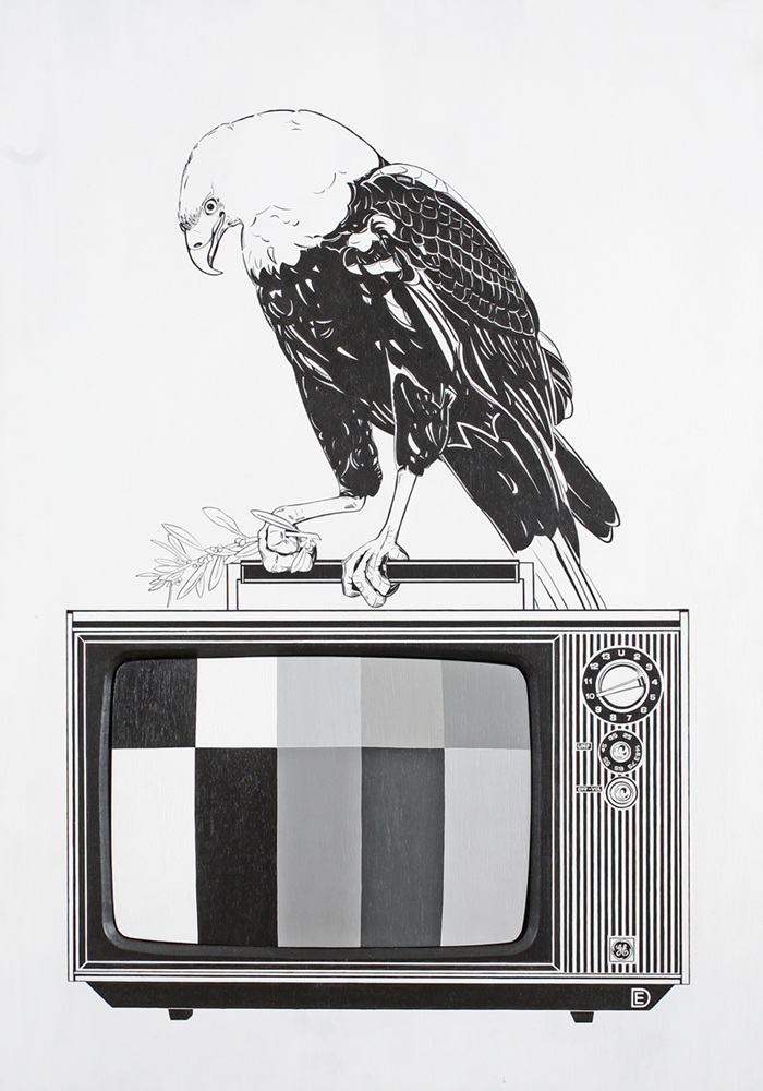 Dylan  Egon -  <strong>Eagle / GE</strong> (2010<strong style = 'color:#635a27'></strong>)<bR /> (video collaboration with Jansan Lambie),   mixed media,   40 x 27.5 x 4 inches  (101.6 x 70.17 x 10.16 cm)