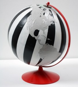 Dylan  Egon -  <strong>Globe (black, white, red)</strong> (2008<strong style = 'color:#635a27'></strong>)<bR /> mixed media,   14.5 x 12 x 12 inches  (36.83 x 30.48 x 30.48 cm)