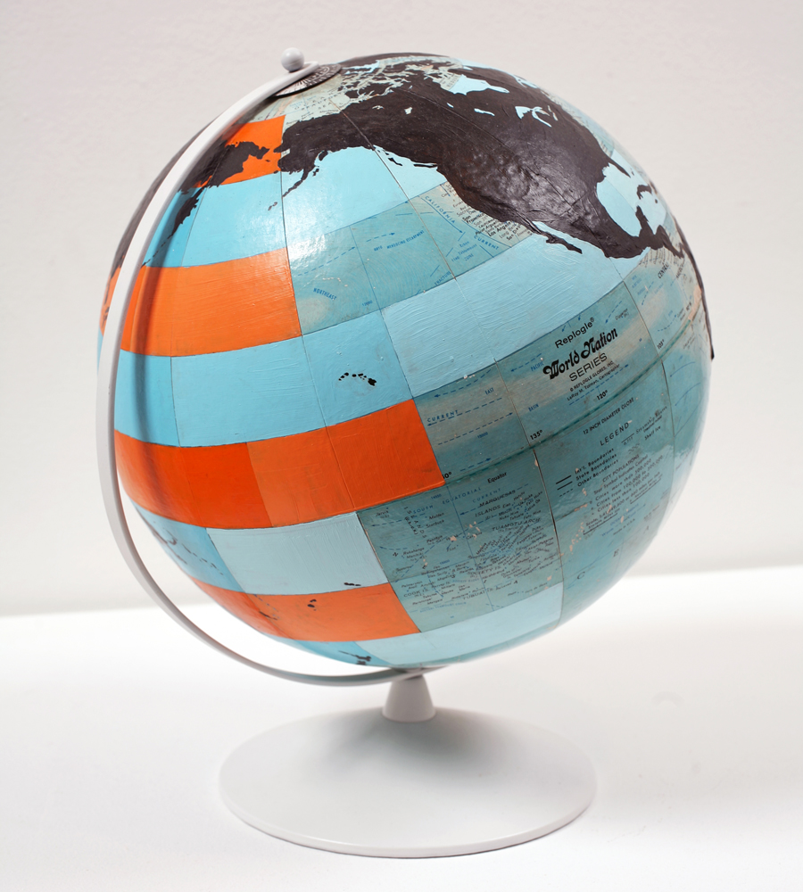 Dylan  Egon -  <strong>Globe (orange, blue, black)</strong> (2009<strong style = 'color:#635a27'></strong>)<bR /> mixed media,   14.5 x 12 x 12 inches  (36.83 x 30.48 x 30.48 cm)