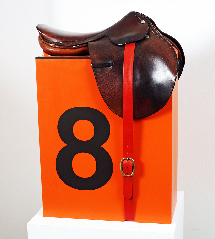Dylan  Egon -  <strong>Hermes Saddle Stool (11)</strong> (2011<strong style = 'color:#635a27'></strong>)<bR /> mixed media,   33.5 x 23 x 17.75 inches  (85.09 x 58.42 x 45 cm)