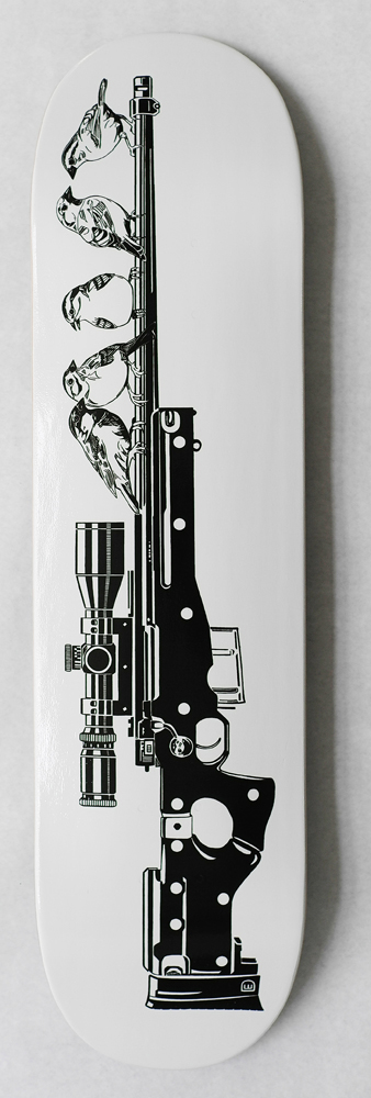 Dylan  Egon -  <strong>Northern Sparrows Skateboard</strong> (2014<strong style = 'color:#635a27'></strong>)<bR /> print on skateboard deck,   32 x 8 inches  (81.28 x 20.32 cm)  Edition of 14