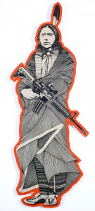 Dylan  Egon -  <strong>Quanah Parker (orange)</strong> (2011<strong style = 'color:#635a27'></strong>)<bR /> Hand painted multiple (HPM) on panel,   56.5 x 19 inches  (143.5 x 48.26 cm)