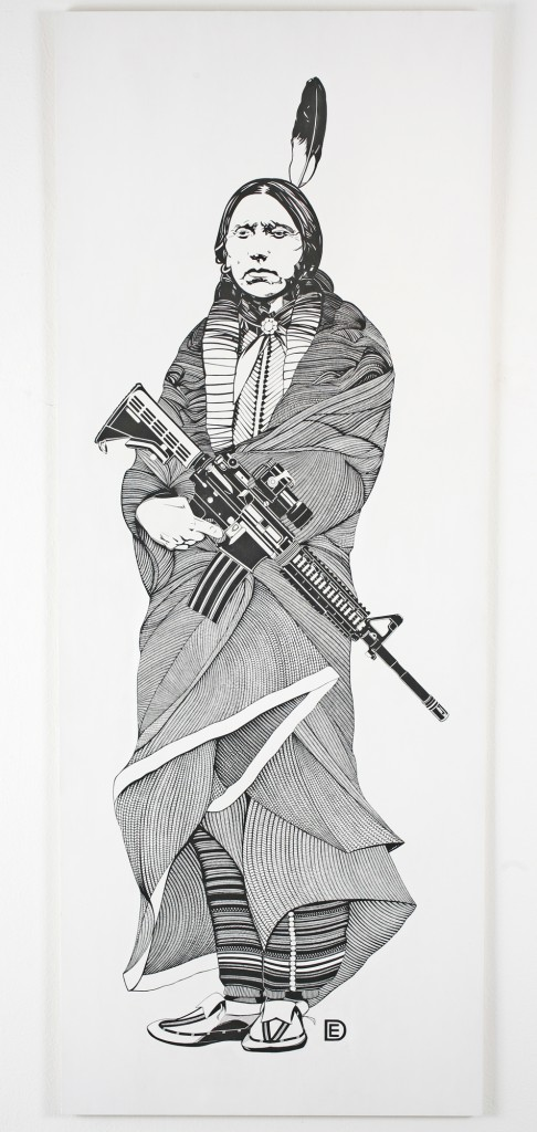 Dylan  Egon -  <strong>Quanah Parker (last to come in)</strong> (2011<strong style = 'color:#635a27'></strong>)<bR /> acrylic on panel,   77 x 30 inches  (195.58 x 76.2 cm)