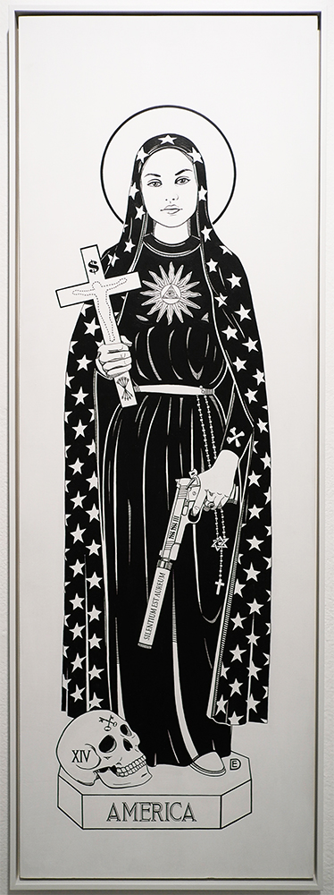 Dylan  Egon -  <strong>Saint America</strong> (2014<strong style = 'color:#635a27'></strong>)<bR /> acrylic on board,   14.5 x 42 x 0.75 inches  (36.83 x 106.68 x 1.91 cm)