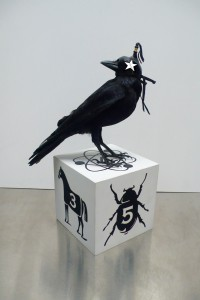 Dylan  Egon -  <strong>Star Crow</strong> (2014<strong style = 'color:#635a27'></strong>)<bR /> mixed media,   21 x 12 x 12 inches  (53.34 x 30.48 x 30.48 cm)