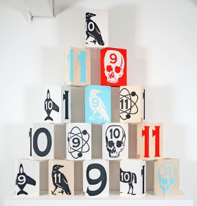 Dylan  Egon -  <strong>Table Stool series (sold individually)</strong> (2011<strong style = 'color:#635a27'></strong>)<bR /> acrylic on wood,   19.75 x 11.75 x 8 inches  (50.17 x 29.85 x 20.32 cm)