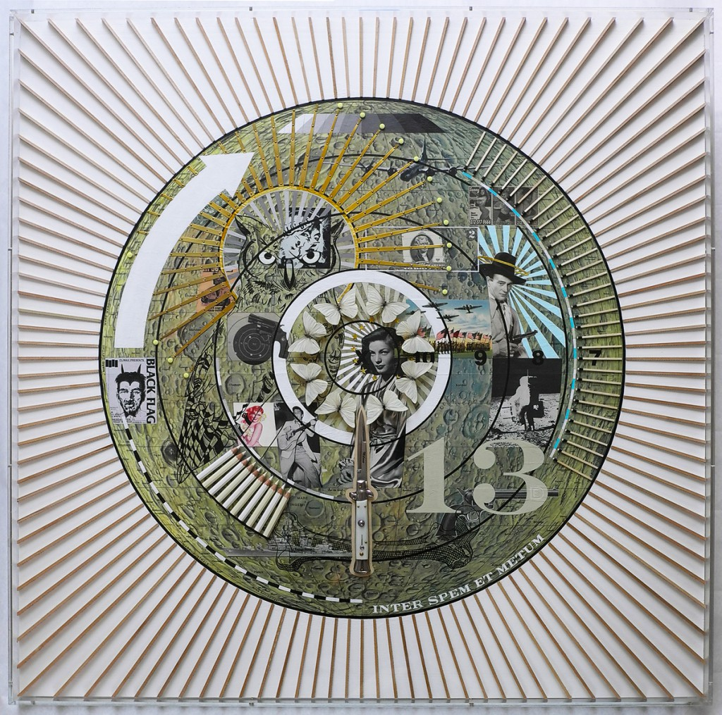 Dylan  Egon -  <strong>Target Moon</strong> (2014<strong style = 'color:#635a27'></strong>)<bR /> mixed media on board,   36 x 36 x 2 inches  91.44 x 91.44 x 5.08 cm)