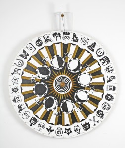 Dylan  Egon -  <strong>Wheel of Fate</strong> (2008<strong style = 'color:#635a27'></strong>)<bR /> mixed media,   58.5 x 47.5 x 2.5 inches  (148.59 x 120.65 x 6.67 cm)