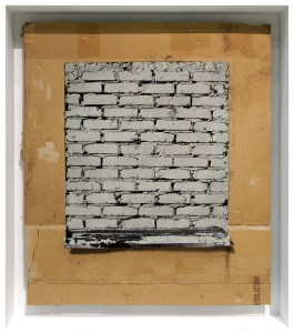 EVOL   -  <strong>Broken Window (Praxis)</strong> (2015<strong style = 'color:#635a27'></strong>)<bR /> spray paint on cardboard,   24.41 x 21.26 inches  (62 x 54 cm)