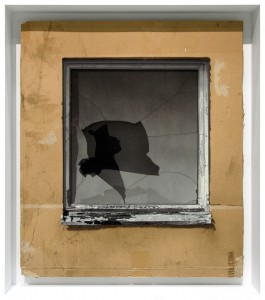 EVOL   -  <strong>Broken Window (Theorie)</strong> (2015<strong style = 'color:#635a27'></strong>)<bR /> spray paint on cardboard,   24.41 x 21.26 inches  (62 x 54 cm)