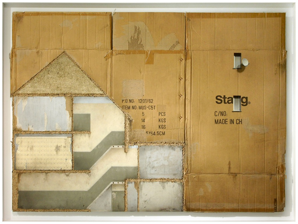 EVOL -  <strong>Stag's Party</strong> (2015<strong style = 'color:#635a27'></strong>)<bR /> mixed media on cardboard, 40.94 x 55.91 inches, (104 x 142 cm) Framed: