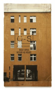 EVOL   -  <strong>The Closed Neighbor</strong> (2015<strong style = 'color:#635a27'></strong>)<bR /> spray paint on cardboard,   42.13 x 24.02 inches  (107 x 61 cm)  46.06 x 27.95 inches, framed