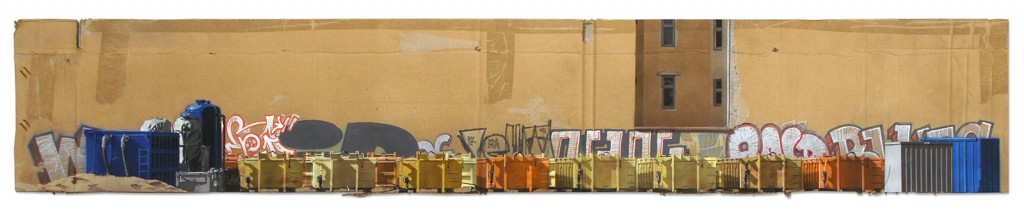 EVOL  &nbsp -  <strong>Who's afraid of Yellow, Orange and Blue?</strong> (2015<strong style = 'color:#635a27'></strong>)<bR /> spray paint on cardboard,   10.63 x 61.81 inches  (27 x 157 cm)  14.57 x 65.75 inches, framed