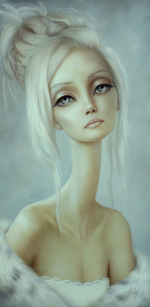 Lori  Earley -  <strong>Leila</strong> (2007<strong style = 'color:#635a27'></strong>)<bR /> Oil on board,   Image size: 24 x 12 inches,   Framed size: 31 1/2 x 19 1/4 inches