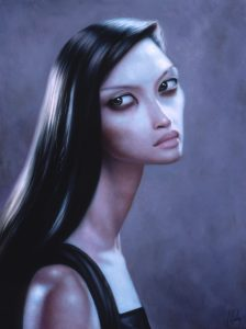 Lori  Earley -  <strong>Gueneverre</strong> (<strong style = 'color:#635a27'></strong>)<bR /> oil on board,   16 x 12 in. (40.64 x 30.48 cm),   19 1/2 x 16 in. (49.53 x 30.48 cm) framed