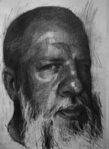 Eloy  Morales -  <strong>Matthew</strong> (2013<strong style = 'color:#635a27'></strong>)<bR /> pencil and charcoal on paper,   16.5 x 11.63 inches  (41.71 x 29.54 cm)